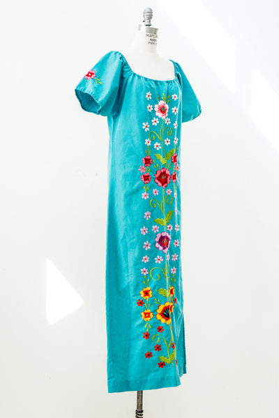 1970s Cotton Turquoise Embroidered Maxi Dress - M