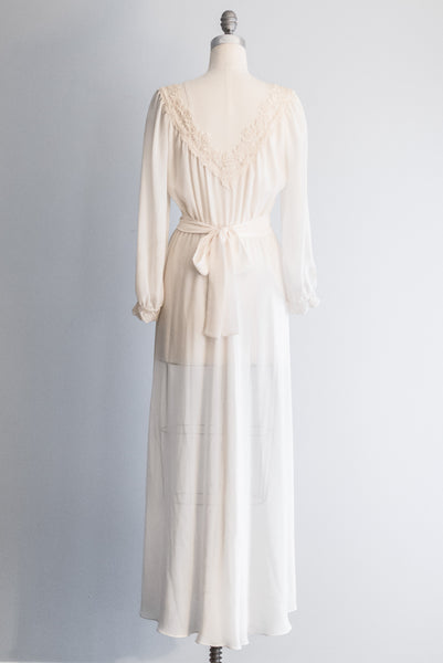 1970's Chiffon Poet Sleeves Gown - S/M