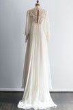 1970s Ivory Beaded Lace and Chiffon Long Sleeves Gown