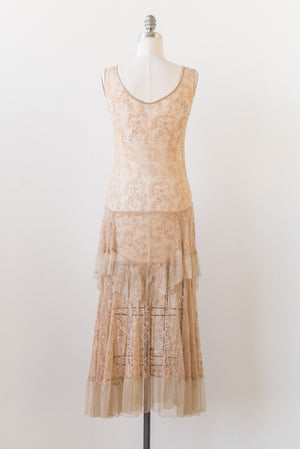 1930s Sheer Ecru Lace Dress - S