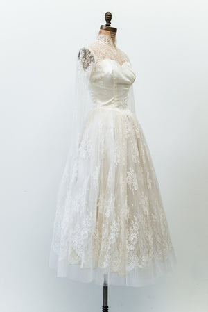 1950s Lace Tulle Dress - XS