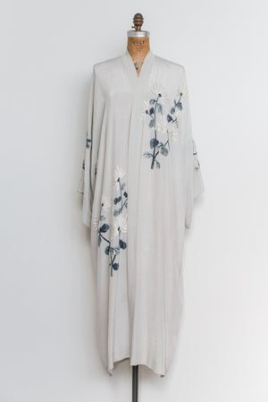 1930s Light Gray Silk Embroidered Kimono - One Size