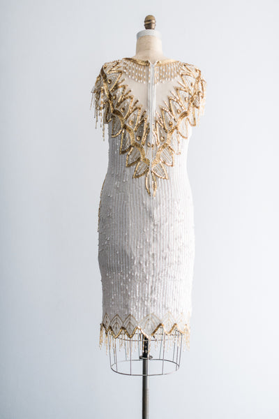 1980's Gold and Cream Fireworks Silk Dress - S/M