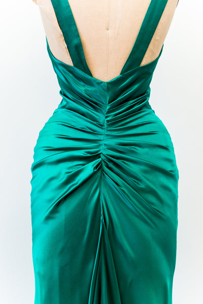 Vintage Silk Emerald Green Gown - XS/S