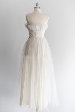 1950s Pleated Bust Tulle Gown - XS/S