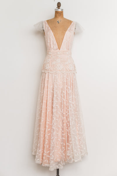 1970s Ivory and Peach Lace Deep V-Neck Gown - S/M