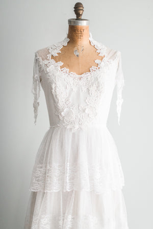 1970s Tiered Lace Gown - S/M