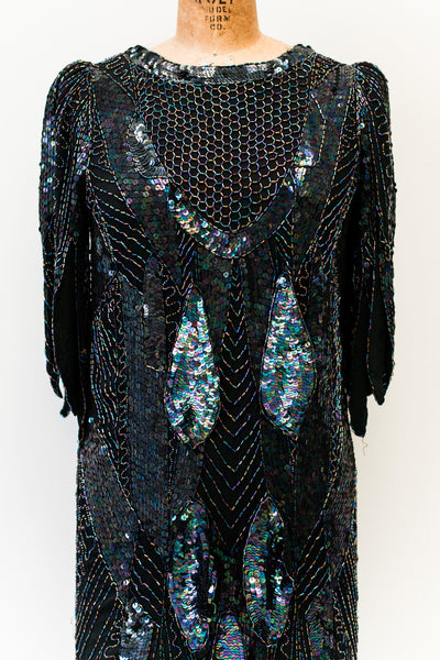 1980s Black Beaded Silk Flapper-Inspired Dress - M
