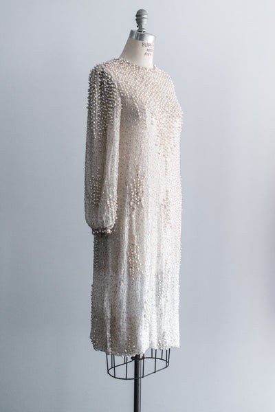 [SOLD] 1980s Silk Beaded Shift Dress - M