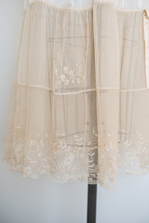 Antique Silk Duchesse Lace Half-Slip - M/L