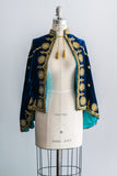 Antique Sapphire Silk Velvet Capelet with Gold Embroidery
