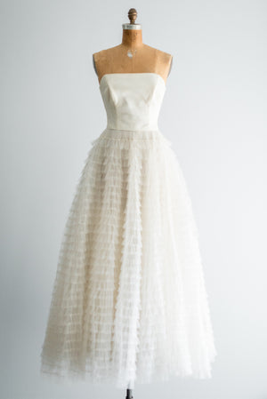 1950s Tiered Tulle Gown - XS/S