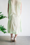 Rare 1920s Light Green Embroidered Cotton Dress - S/M