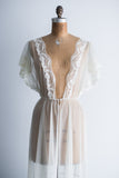 1950s Lace Tricot Chiffon Dressing Gown - S/M