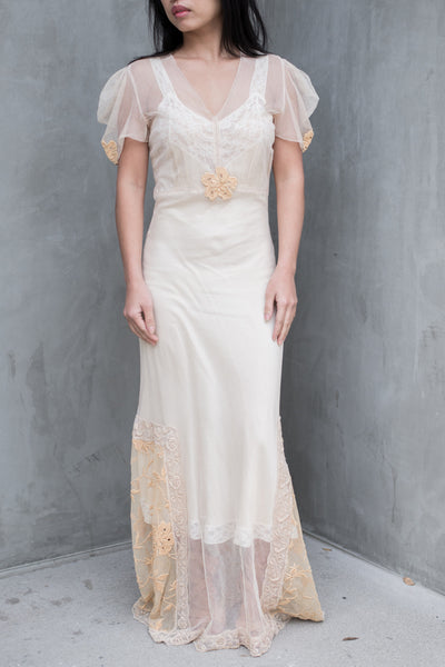 1930s Peach Pink Lace Embroidered Gown - S