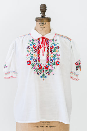 1970s Embroidered Peasant Blouse - S/M
