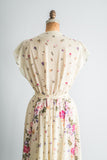 1980s Yellow Floral Dress - M