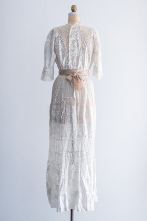 Edwardian Whitework Embroidered Lace Lawn Dress - S/M