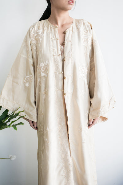 Antique Ivory Embroidered Silk Robe