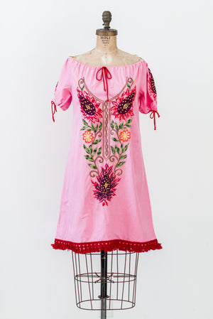 1970s Pink Off the Shoulder Dress - S/M