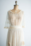 1920s Ecru Tulle and Silk Flower Dress - S