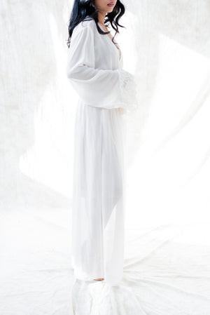 Long Chiffon Dressing Robe - M