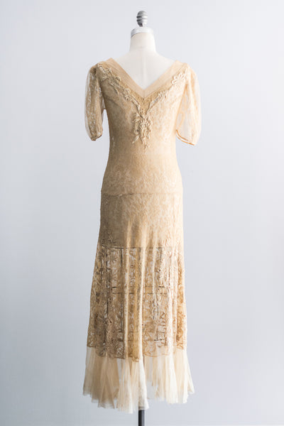 1930's French Embroidered Lace Tulle Dress - S