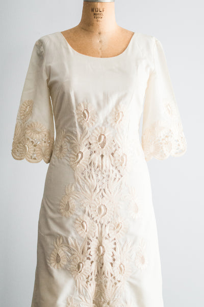 1960s Embroidered Cut-Out Dress - M/L