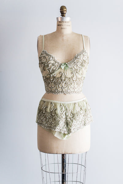 Vintage Lace Sheer Mint Bralette with Matching Bottom - M/L