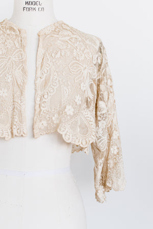 Antique Tambour Lace Jacket/Top - S