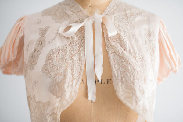 1930s Light Pink Satin and Lace Jacket - S