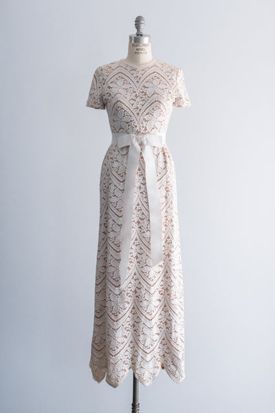 1960s I. Magnin Daisy Lace Gown - S/M