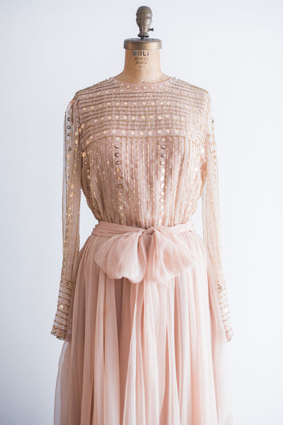 1960s Nude/Peach Chiffon Round Neck Gown - S/M
