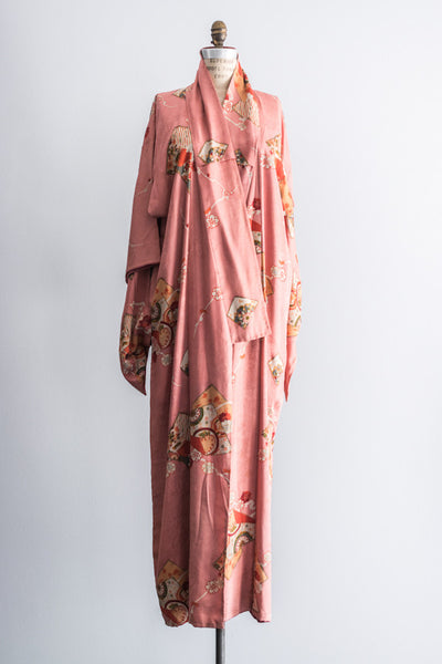 [SOLD] Vintage Dusty Rose Brocade Silk Kimono Dressing Robe