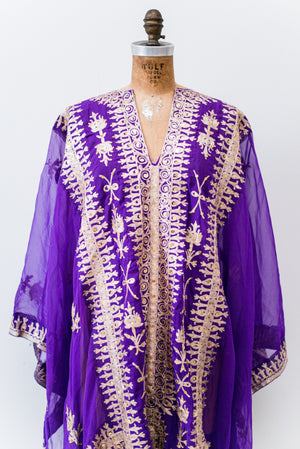 Vintage Purple and Gold Kaftan - One Size