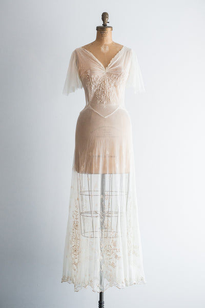 RESERVED 1930s/40s Tulle French-Embroidered Gown - S