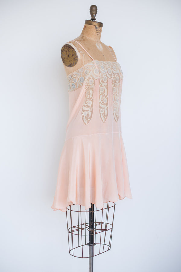 1920s Silk Crepe and Lace Slip Dress - S/M