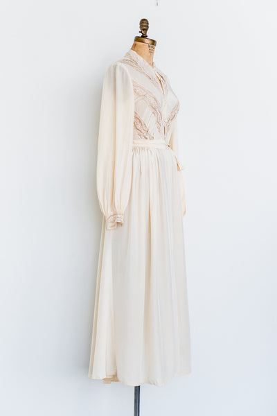1940s Silk Crepe Dressing Gown - XS/S