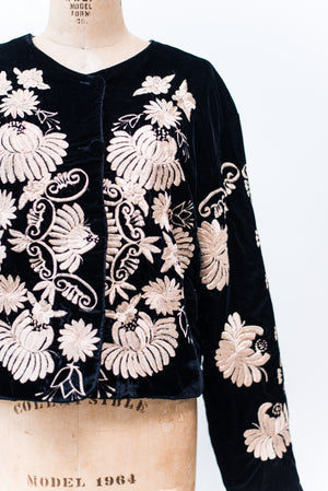 Vintage Embroidered Velvet Jacket - M/L