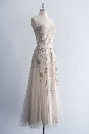 1950's Sequined and Lamé Embroidered Gown - XS