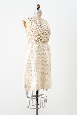 1960s Irish Crochet Dress - M