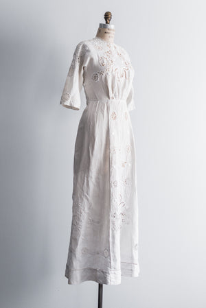 Edwardian Linen Embroidered Dress - S