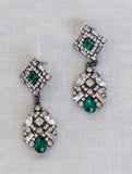 1950s Green Crystal Earrings