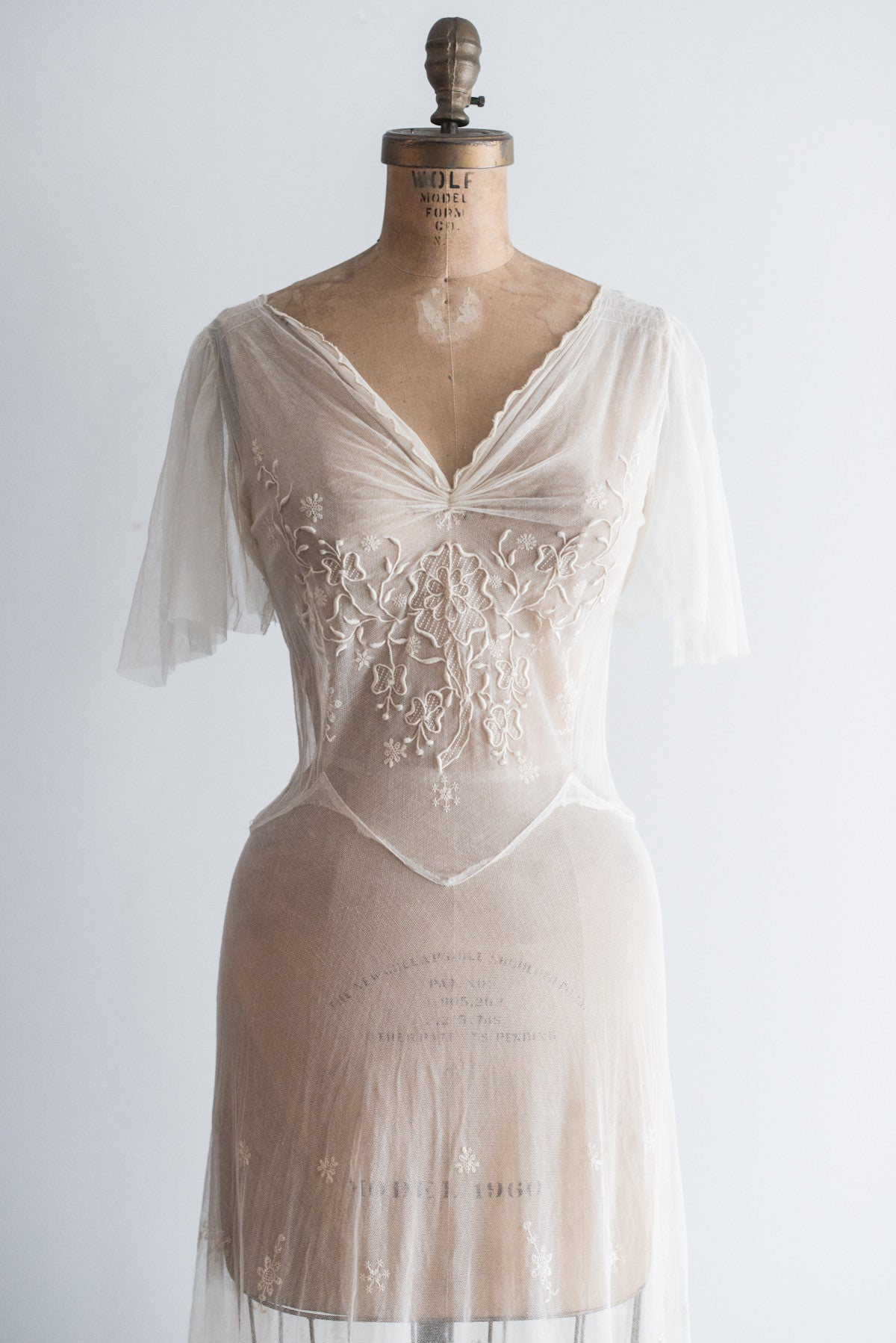 Direct Import Home Decor Reserved 1930s 40s Tulle French Embroidered Gown S G O