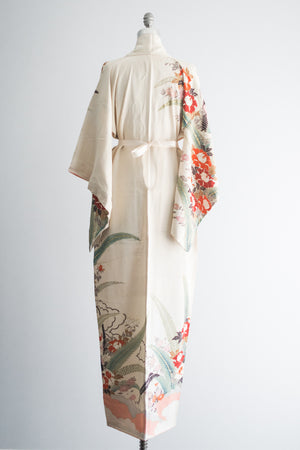 1940s Silk Cream Kimono Robe with Crimson Flowers - One Size