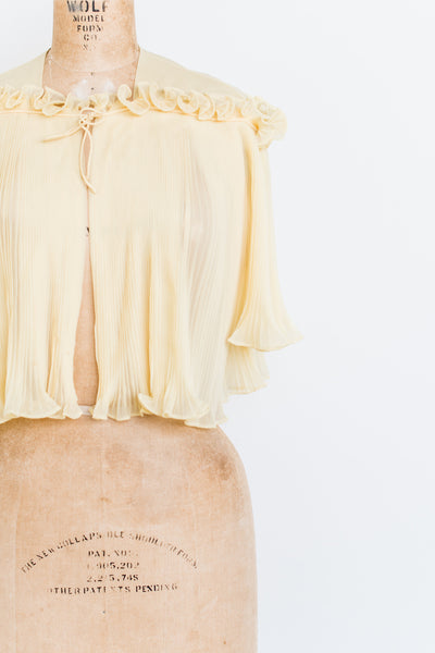 1950s Yellow Pleated Jacket - One size