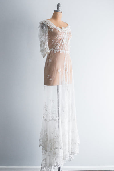 Edwardian Dunchesse Lace Gown - S