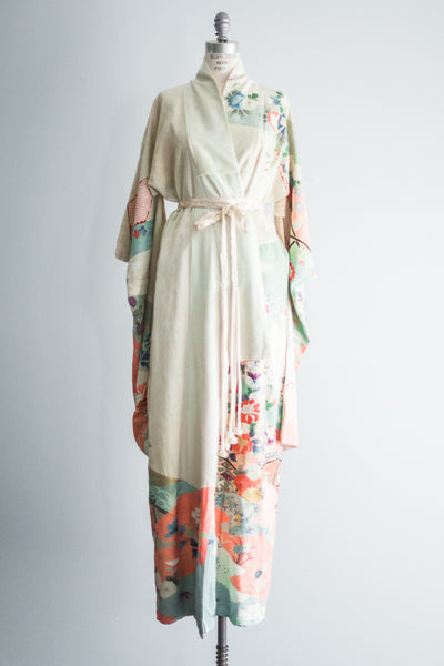 1940s Silk Light Mint Floral Kimono - One Size