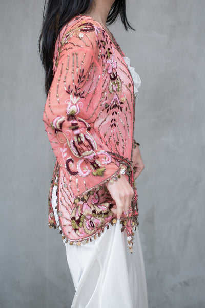 Designer Pink Embroidered Lace Jacket - S/M