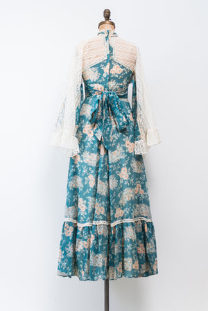 1970s Blue Floral Print Maxi Dress with Lace Sleeves - XS/S